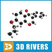 ipriflavone molecule structure 3d model